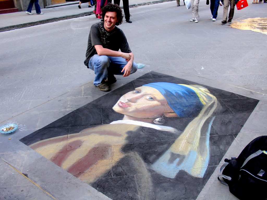 Girl with a Pearl Earring - (Chalk on Stone), after Vermeer.