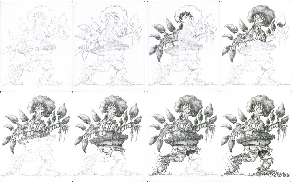 Old Tree Creature Drawing Process