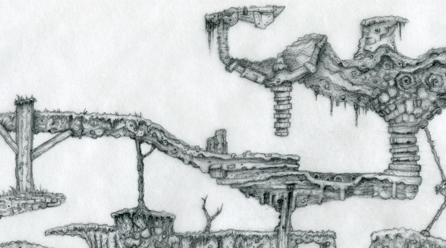Zoomed close up of a hand drawn platform game level by Peter McClory