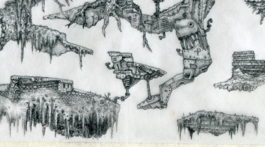Zoomed close up 3 of a hand drawn platform game level by Peter McClory