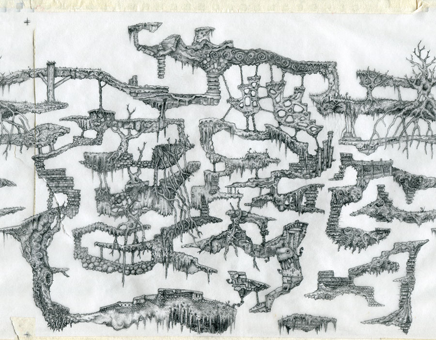 Complex hand drawn game level by Peter McClory